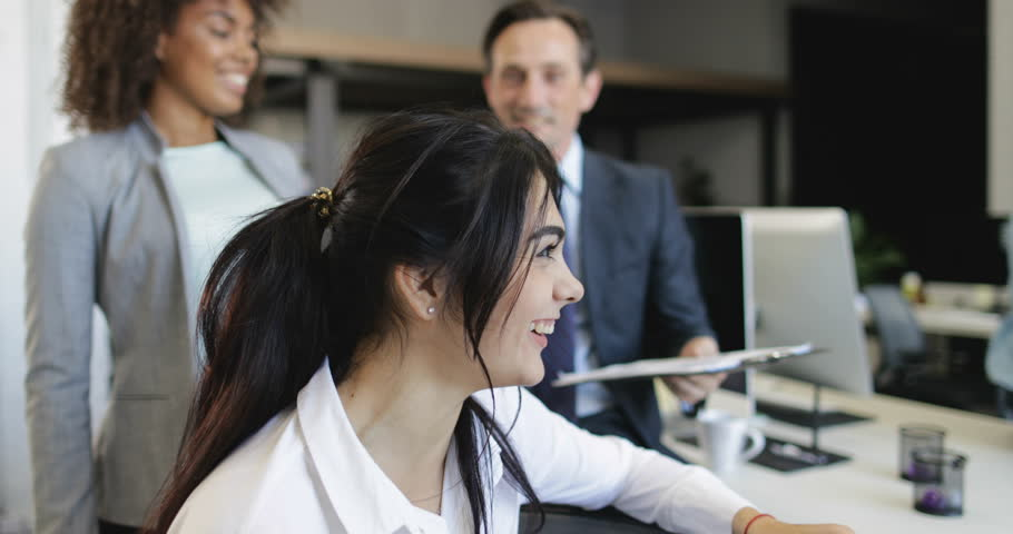Business People Group Analyzing Documents During Meeting Discussing Reports In Modern Office, Team Of Businesspeople Brainstorming Together  | Shutterstock HD Video #28088488