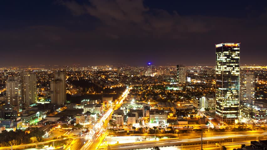 Tel Aviv Skyline From Day to Night - Time Lapse...