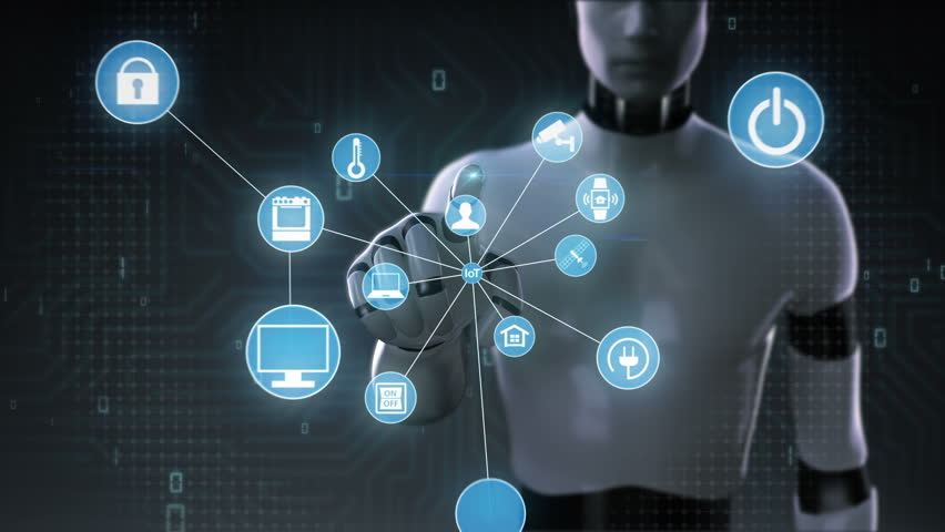 Robot, cyborg touching screen, IoT technology connect global world map. dots makes world map, 2. | Shutterstock HD Video #28165669