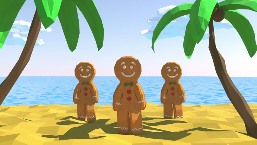 Gingerbread man Dancing in beach. 3D animation of funny, hot and sweet cookie boy dancing for holiday and kid event, show, VJ, party, music, banner, dvd. Palm, sand, sea, sky and summer. Low poly.