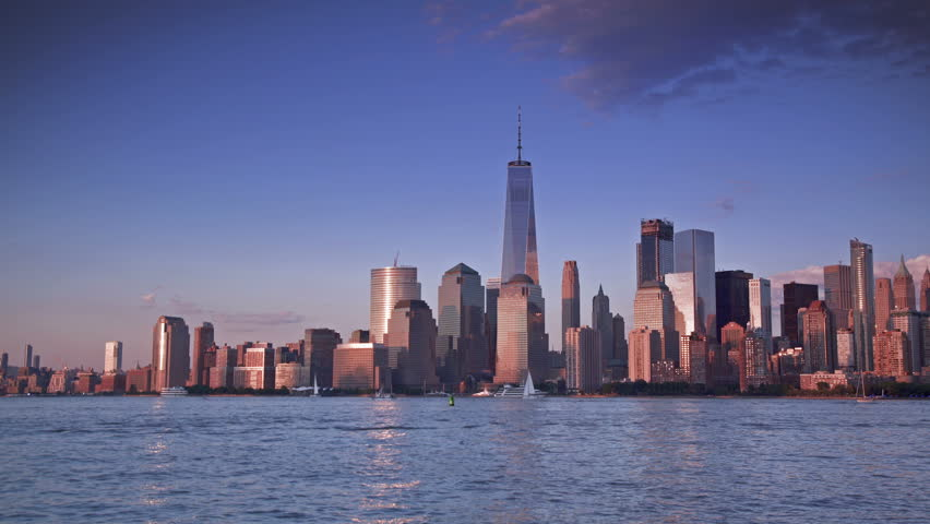 Lower Manhattan skyline view from across the Hudson in New Jersey. | Shutterstock HD Video #28248994
