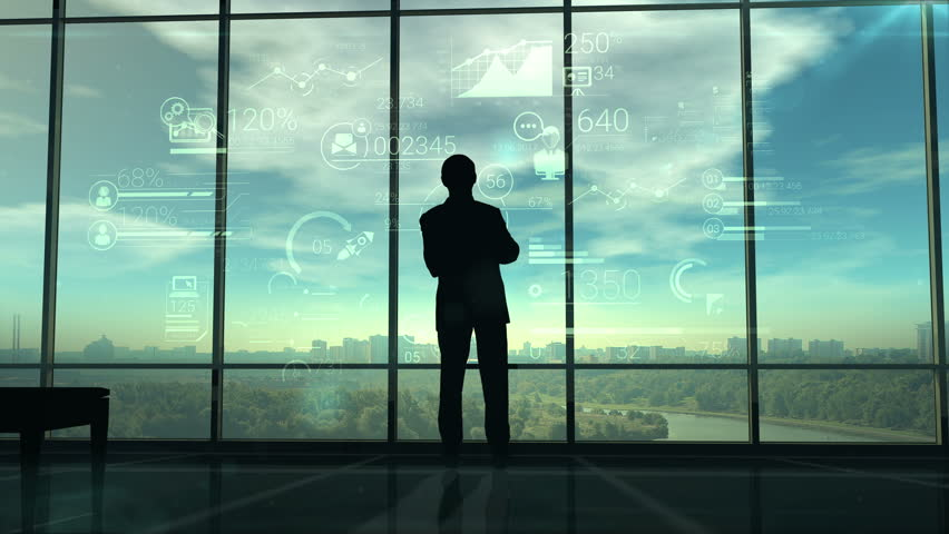 Silhouette of man and corporate infographics   Shutterstock Video #28264771