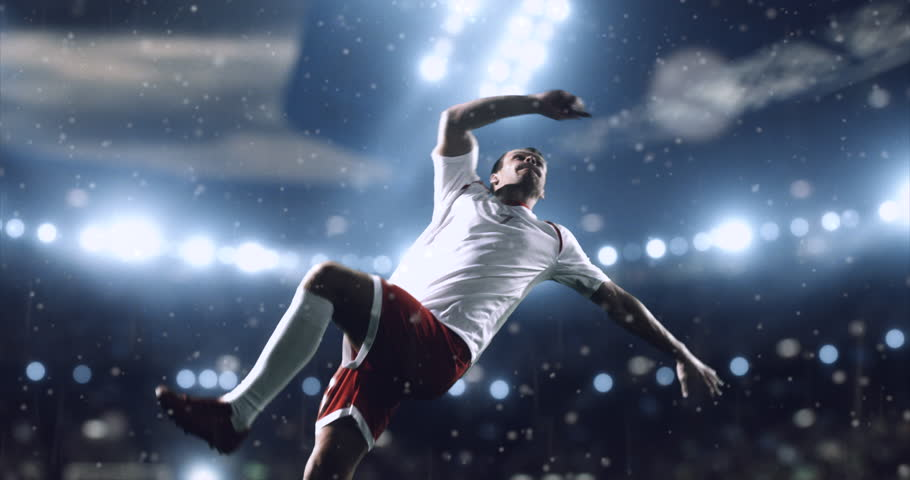 4k footage of a soccer player in dramatic play during a soccer game on a professional outdoor soccer stadium. Players wear unbranded uniform. Stadium and crowd are made in 3D. | Shutterstock Video #28283587