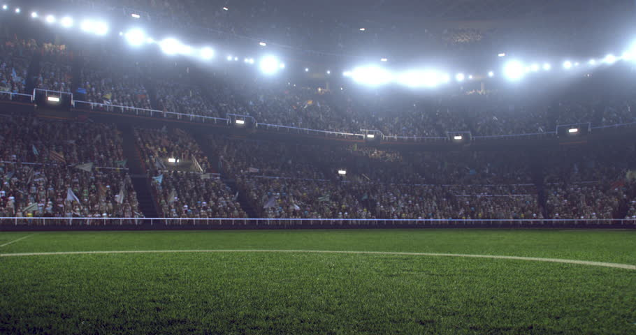 4k resolution footage of a dramatic soccer stadium. The stadium was made in 3d without using existing references. The crowd and light on the stadium are animated.