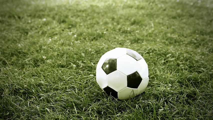 set of clips showing bouncing or rolling ball on a grass in little slow motion stock footage