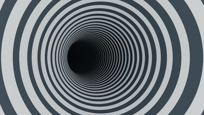 Abstract background with animated hypnotic tunnel from colorful caramel, glass or plastic. Animation of seamless loop.