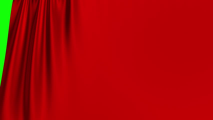 Red Curtain Opening On Green Screen. 3D Animation. 4K. Ultra High Definition. 3840x2160.