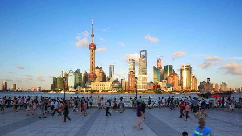 SHANGHAI - CIRCA OCT 2012: Timelapse(Hyper-move) of Shanghai Pudong viewed from the Bund circa October 2012 in Shanghai, China.   - - - ( Please search more: