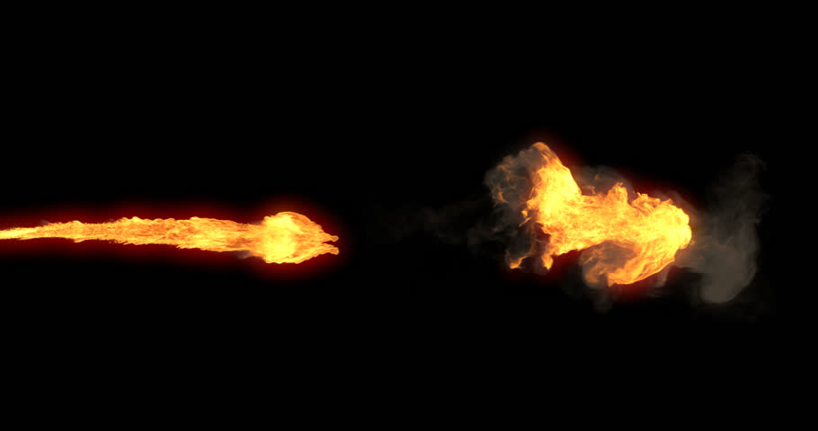 Animated realistic stream of fire like flamethrower shooting or fire-breathing dragon's flames. High quality clip with alpha channel.