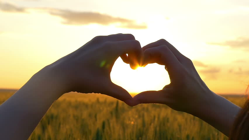 Slow Motion. Woman shapes heart with hands over sun on sunrise or sunset in a wheat field. | Shutterstock HD Video #28661182