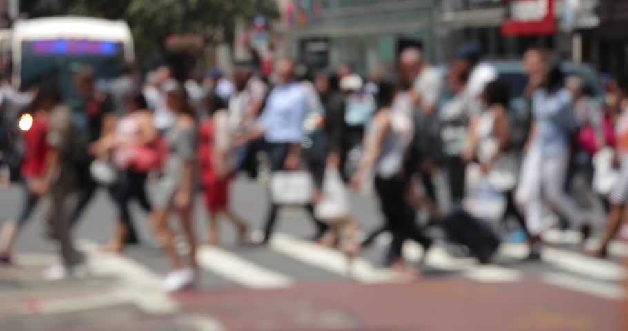 NEW YORK - CIRCA JULY 2017: Crowd of people walking street #28674832