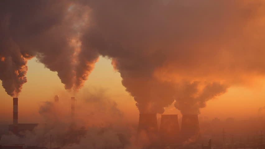 Polluting Factory at Dawn, time-lapse. Full HD 1080