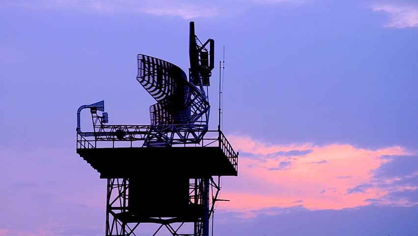silhouette radar communication tower plane