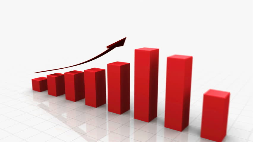 3D Growing Business Chart / bar graph in Red with Climbing Arrow. 8 Bars total. Different variations of this file as well as many other business related animations available in my Contributor Gallery.