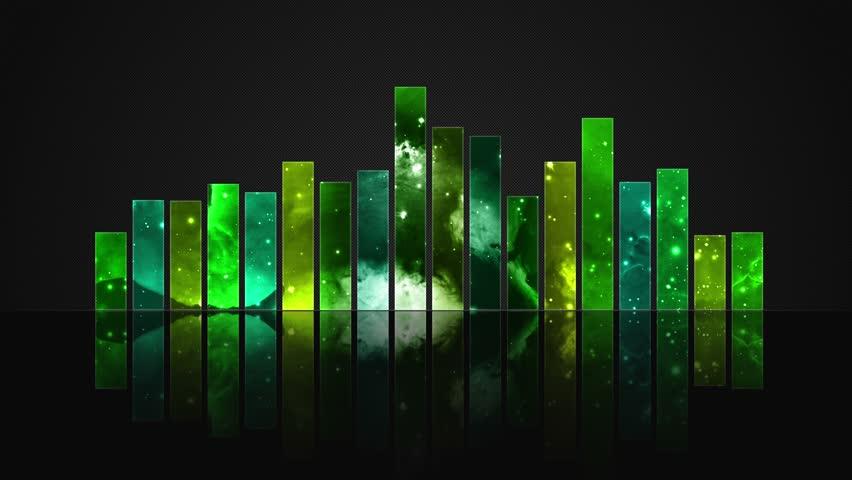 Cosmic Crystal Glass Audio Bars Glowing Version 01 VJ Loop Animated Motion Background Seamless Looping Video Backdrop Lemon Green Yellow