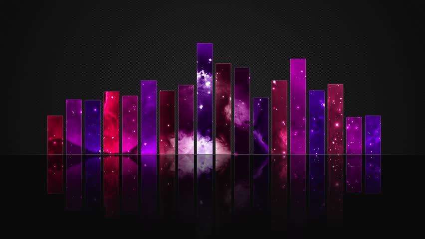 Cosmic Crystal Glass Audio Bars Glowing Version 01 VJ Loop Animated Motion Background Seamless Looping Video Backdrop Pink Magenta Purple Violet