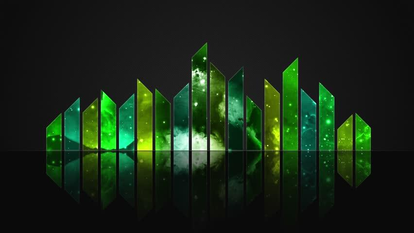 Cosmic Crystal Glass Audio Bars Glowing Version 02 VJ Loop Animated Motion Background Seamless Looping Video Backdrop Lemon Green Yellow