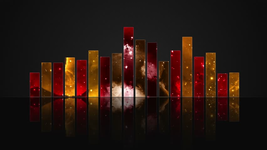 Cosmic Crystal Glass Audio Bars Glowing Version 01 VJ Loop Animated Motion Background Seamless Looping Video Backdrop Red Orange Golden Yellow