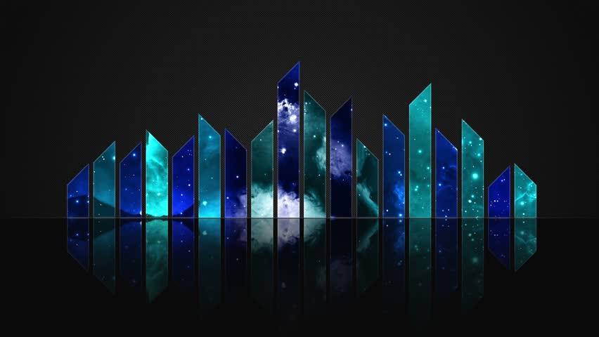 Cosmic Crystal Glass Audio Bars Glowing Version 02 VJ Loop Animated Motion Background Seamless Looping Video Backdrop Blue Cyan