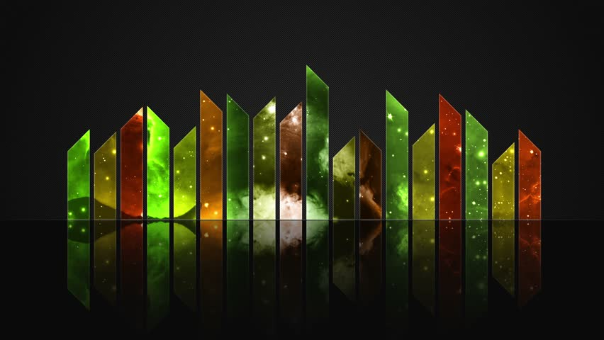 Cosmic Crystal Glass Audio Bars Glowing Version 02 VJ Loop Animated Motion Background Seamless Looping Video Backdrop Changing Colors and Hues