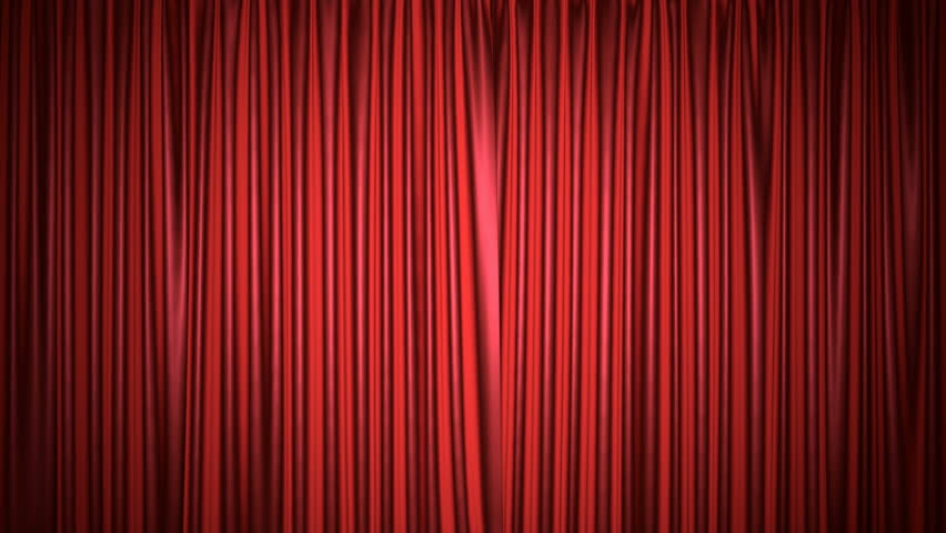 Movie theater red curtain 3D animation with both chroma key and alpha mask included