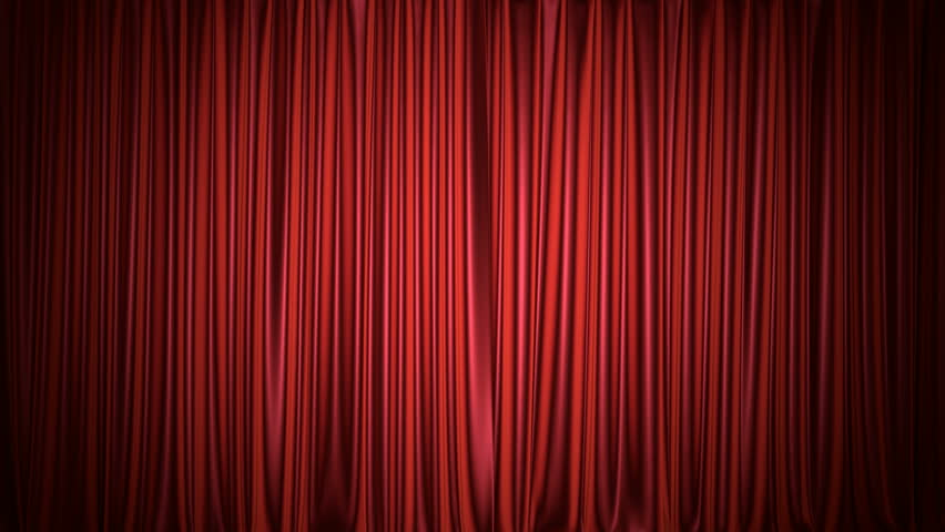 Theater or cinema red curtain 3D animation with both chroma key and alpha mask included