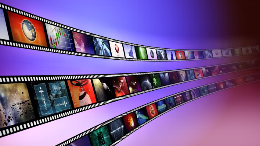 Loop-able animation of film reels with a blue background
