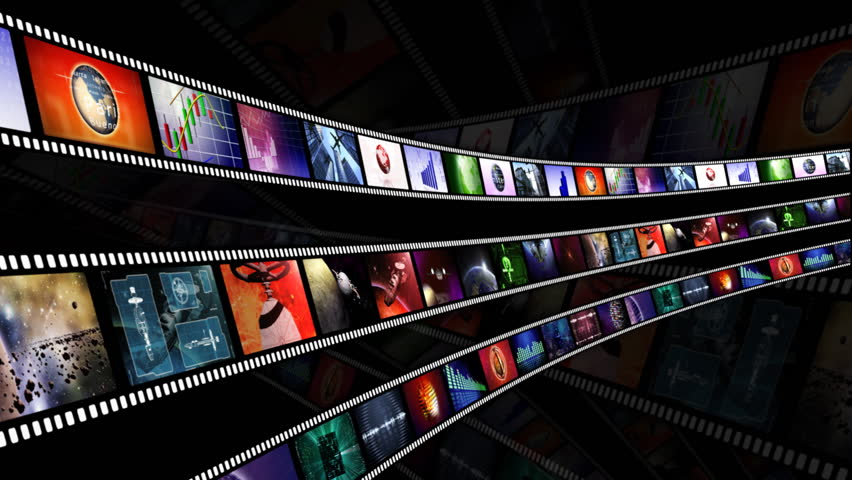 Loop-able animation of film reels with a dark background