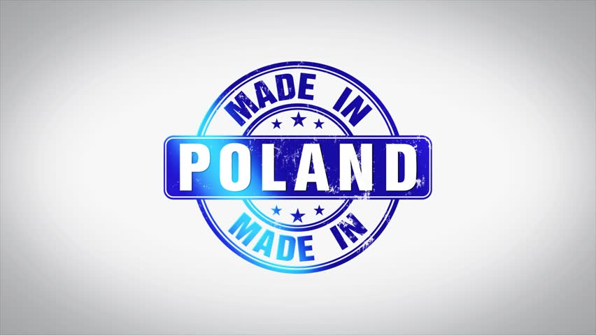 Made in Poland Word 3D Animated Wooden Stamp Animation