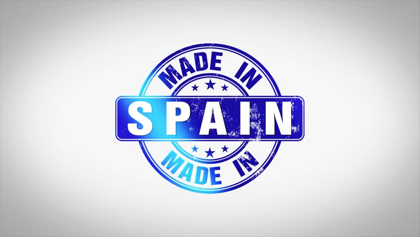 Made in Spain Word 3D Animated Wooden Stamp Animation