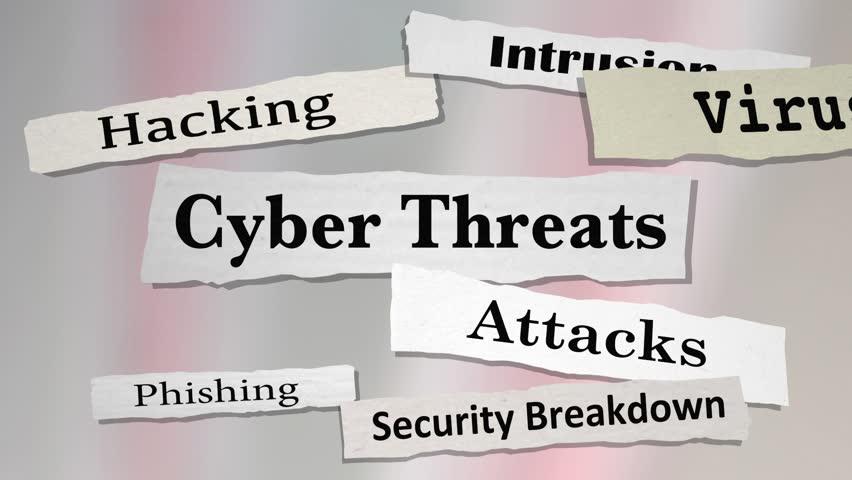 Cyber Threats Attacks Hacking Newspaper Headlines 3d Animation