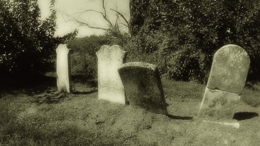 Retro Graveyard 2. Headstones in an old graveyard. HD shot edited in post for a