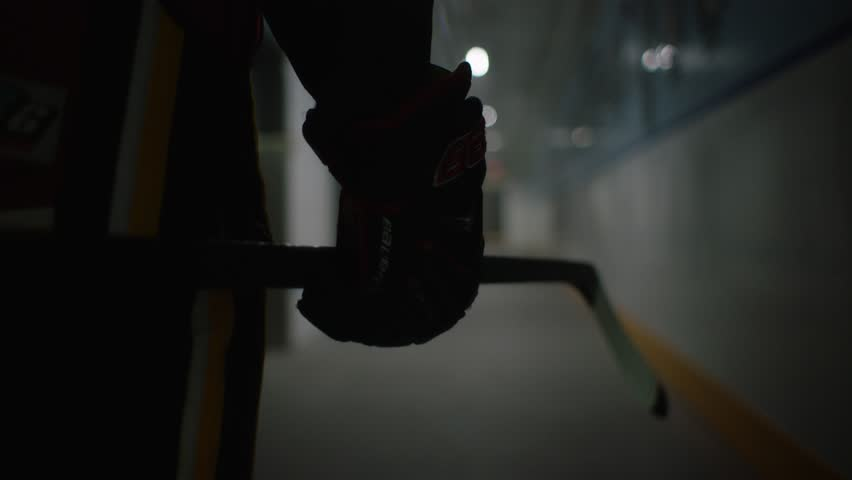 Silhouette of hockey player walking into arena twirling their stick.   Shutterstock Video #29106934