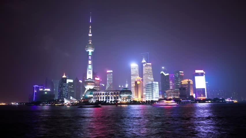 night scene of shanghai,time lapse