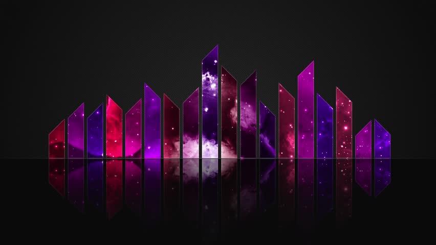 Cosmic Crystal Glass Audio Bars Glowing Version 02 VJ Loop Animated Motion Background Seamless Looping Video Backdrop Pink Magenta Purple Violet
