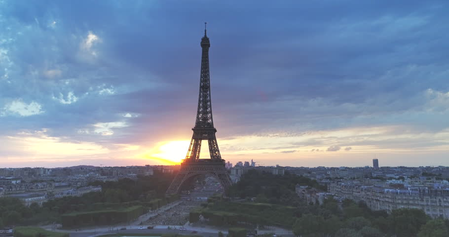 Aerial view of Eiffel tower during sunset, Paris   | Shutterstock HD Video #29493232
