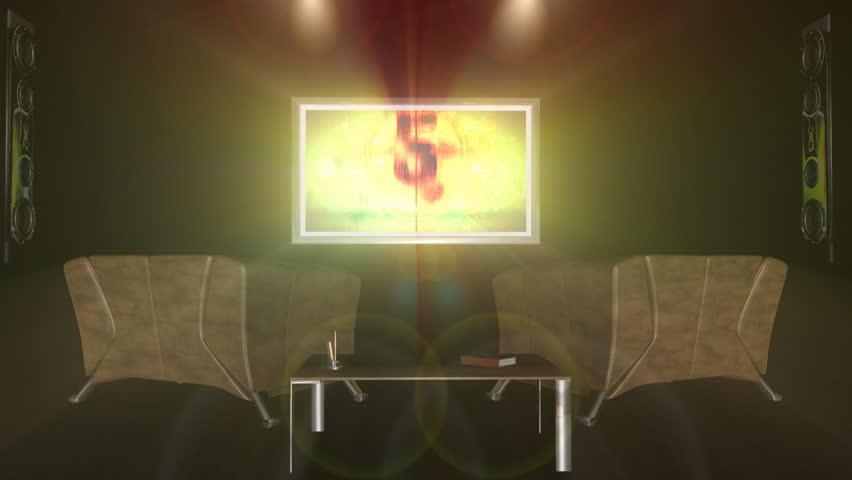 Grunge film leader countdown on flat screen,reflectors light interior room,zoom