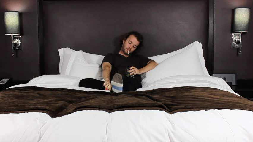 Man Comfortably Sleeping In His Bed At Night Stock Image ...   Man Sleeping In Bed At Night