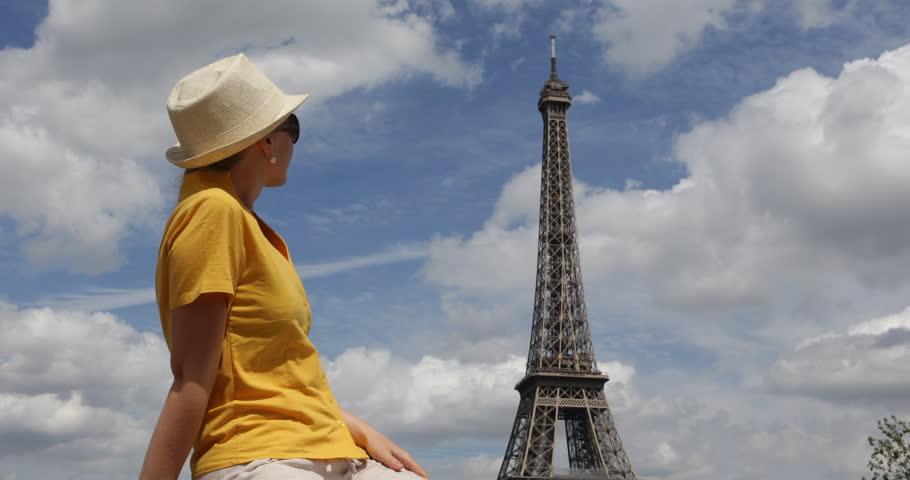 4K Beautiful girl admire Eiffel Tower, attractive lady woman in Paris | Shutterstock HD Video #29729569