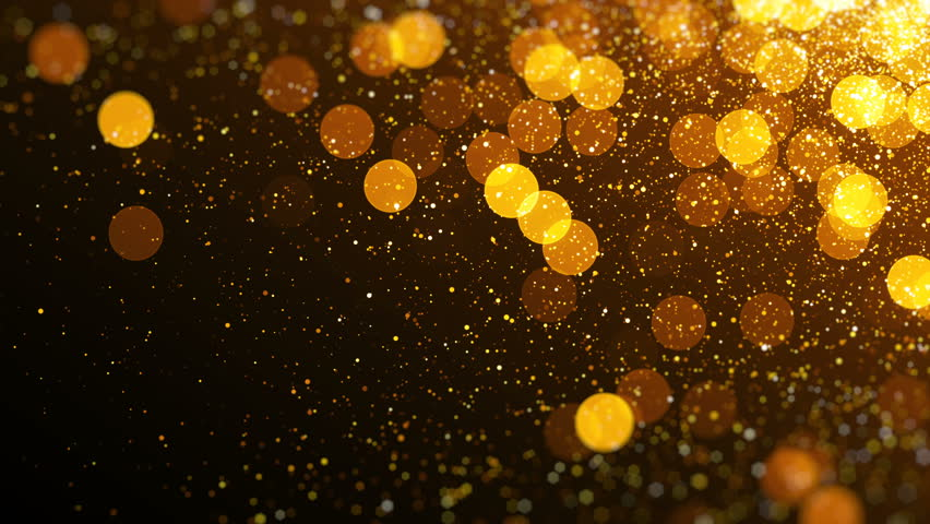 Gold magical blinking particles. Glitter glamour texture. Seamless loop abstract background.