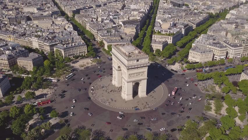 Summer day paris cityscape famous arch de triumph traffic circle aerial panorama 4k time lapse france   Shutterstock HD Video #29776381