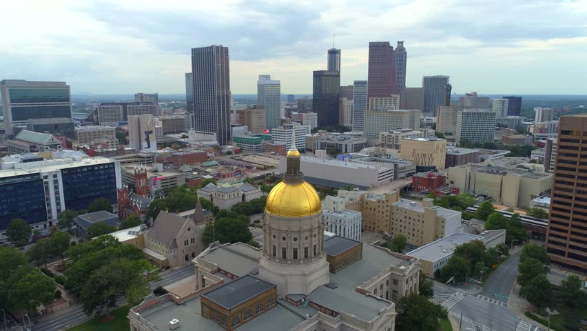 ATLANTA, GA, USA - AUGUST 2, 2017: Atlanta Georgia State Capitol Building aerial shot 4k 60p