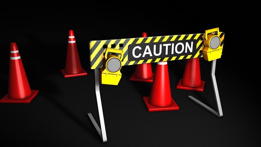 Construction caution sign.