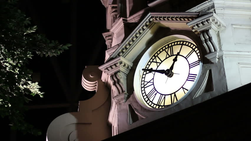 A clock tower at night - 1 am (well, 12:50, but close enough).