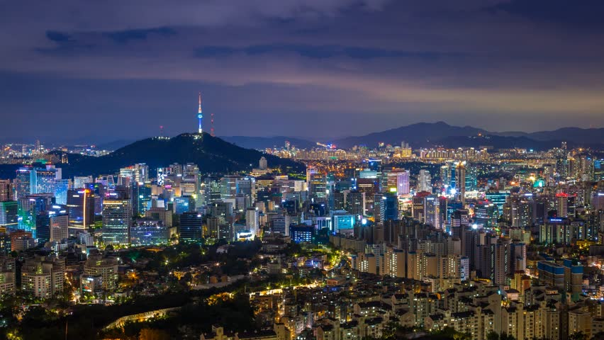 Beautiful city in night, cityscape of Seoul,...
