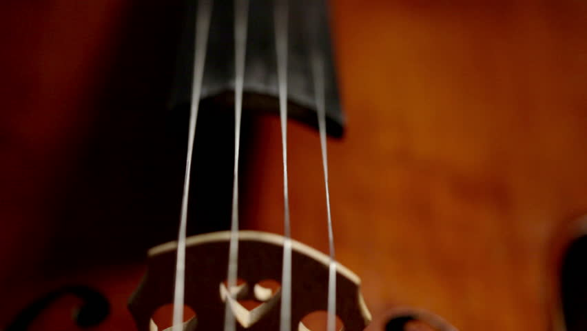 Extreme close-up of a bow being pulled across the strings of a cello with the vibrating strings clearly visible.