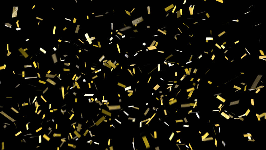 Confetti with alpha channel! Pre-keyed, background is transparent. Loopable. ProRes 4444 with transparency so you can put this confetti over top of anything. Shiny gold confetti fall, clears frame