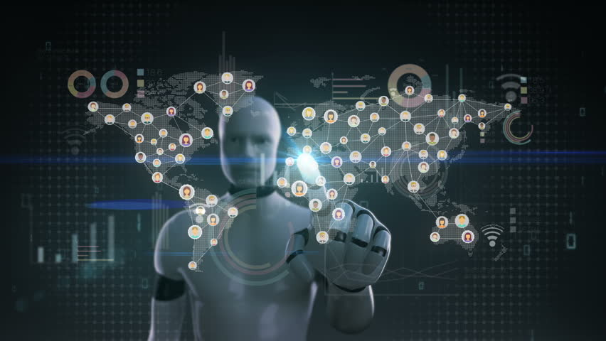 Robot, cyborg touching connected world people, using communication technology. with economic diagram,chart. social media. | Shutterstock HD Video #30097036