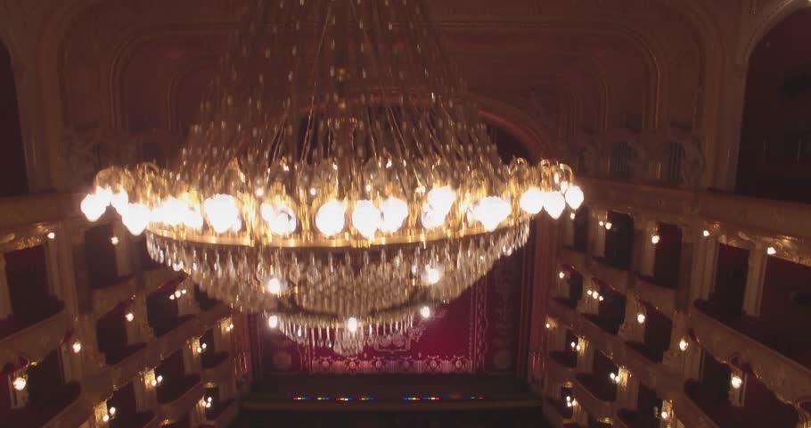 ODESSA CITY OPERA HOUSE, UKRAINE, - SEPTEMBER 15, 2015:  Flying inside the Opera. True pearl of European architecture. 4K