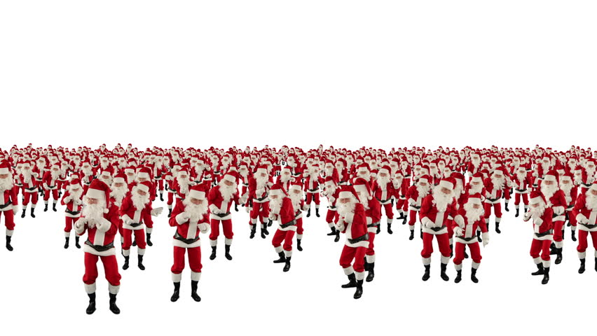 Santa Claus Crowd Dancing, Christmas Party camera fly over, against white